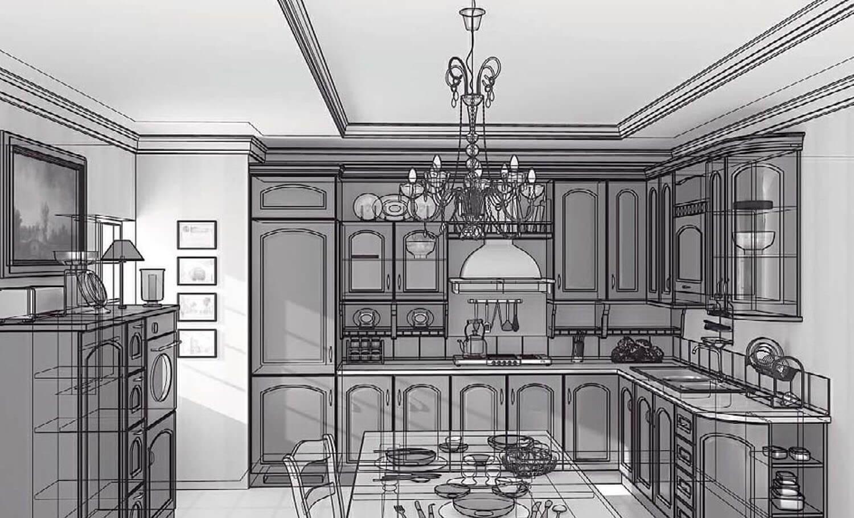 Bản vẽ phối cảnh 3D Tủ bếp gỗ cổ điển