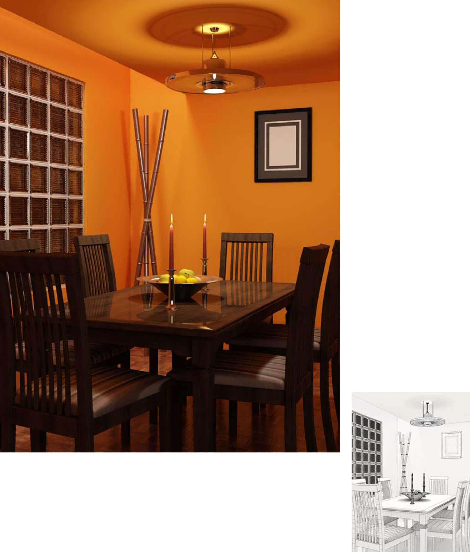 Phòng ăn đẹp trở nên ấm cúng lãng mạn