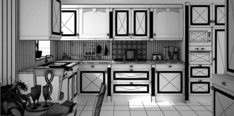 Bản vẽ phối cảnh 3D Tủ bếp gỗ