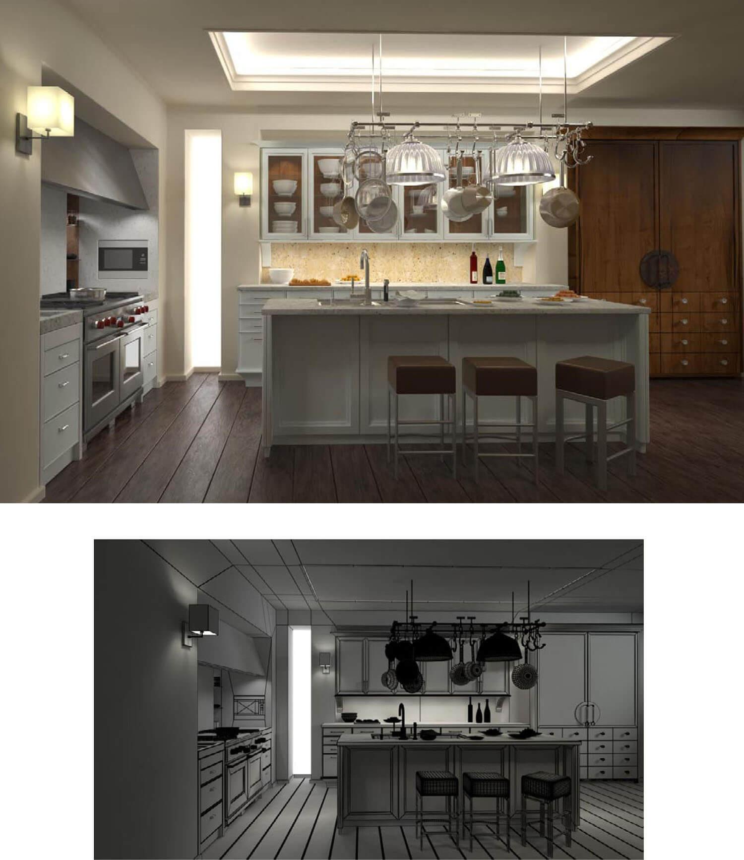 Phòng ăn đẹp kết hợp trần thạch cao và đèn hắt