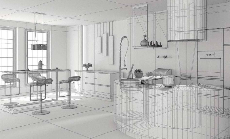 Bản vẽ phối cành 3D Không gian nội thất phòng bếp