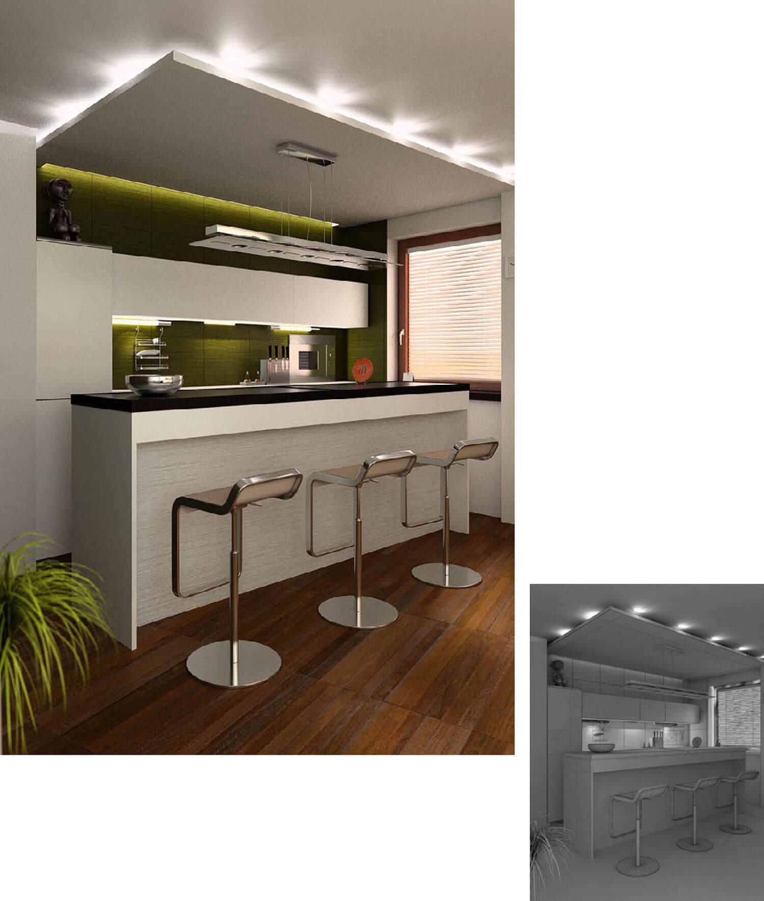 Mẫu bếp đẹp với ánh sáng kì diệu hắt ra từ mảng trần thạch cao