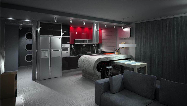 Thiết kế nội thất phòng bếp với hệ thống tủ bếp và các thiết bị hiện đại