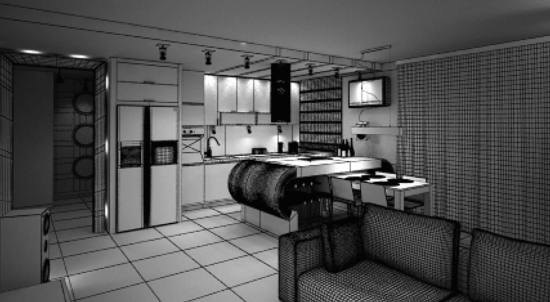 Bản vẽ 3D Thiết kế nội thất phòng bếp với hệ thống tủ bếp