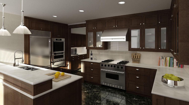 Phòng bếp có diện tích rộng được thiết kế với trần thạch cao