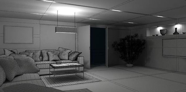 Bản vẽ 3D Phòng khách được thiết kế hiện đại