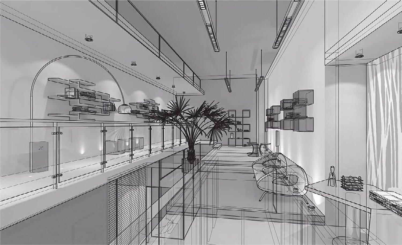 bản vẽ 3d Nội thất phòng khách được mở rộng ra thành phòng giải trí