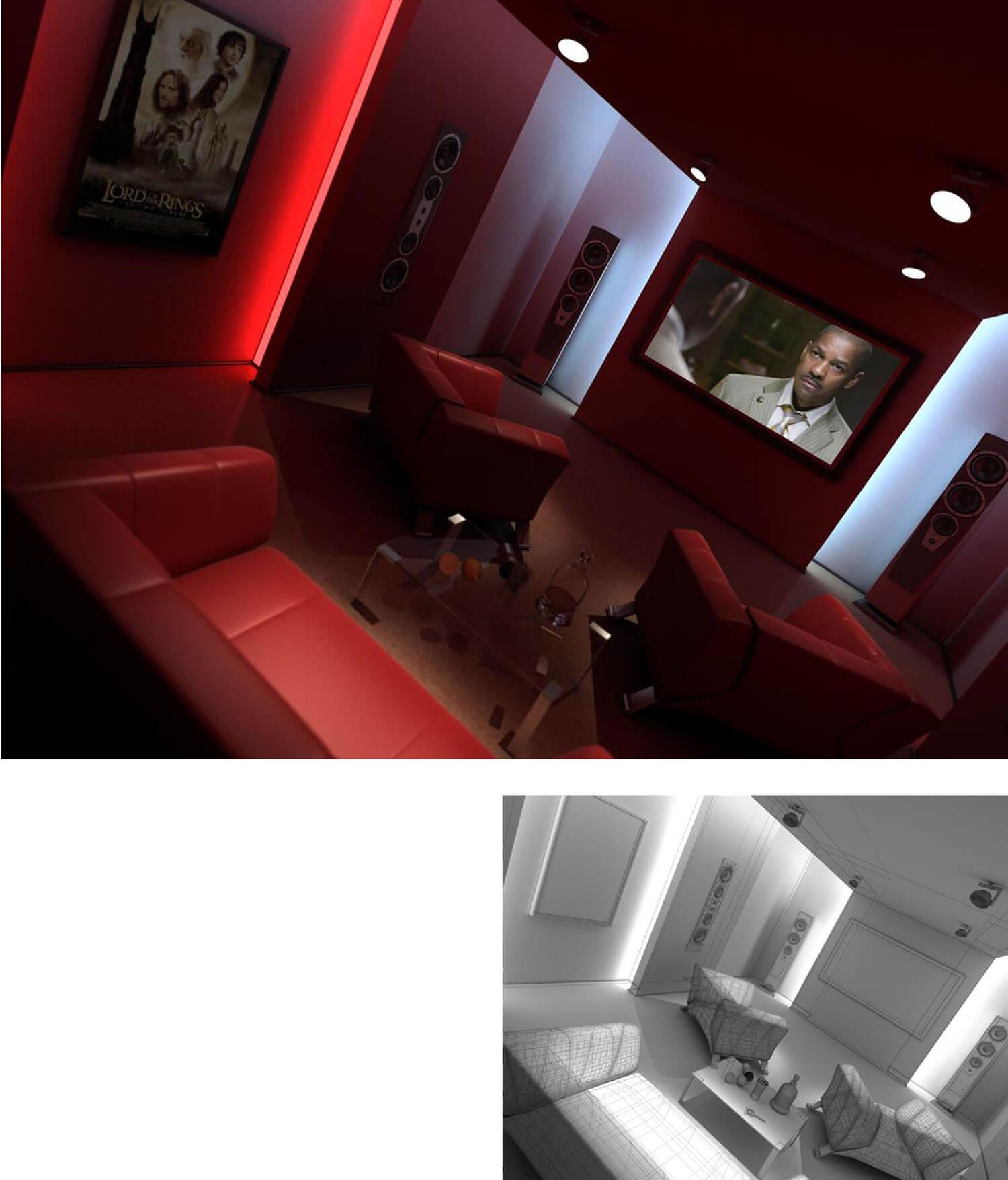 Mẫu phòng chiếu phim mini tại nhà với hệ thống màn hình và loa hiện đại