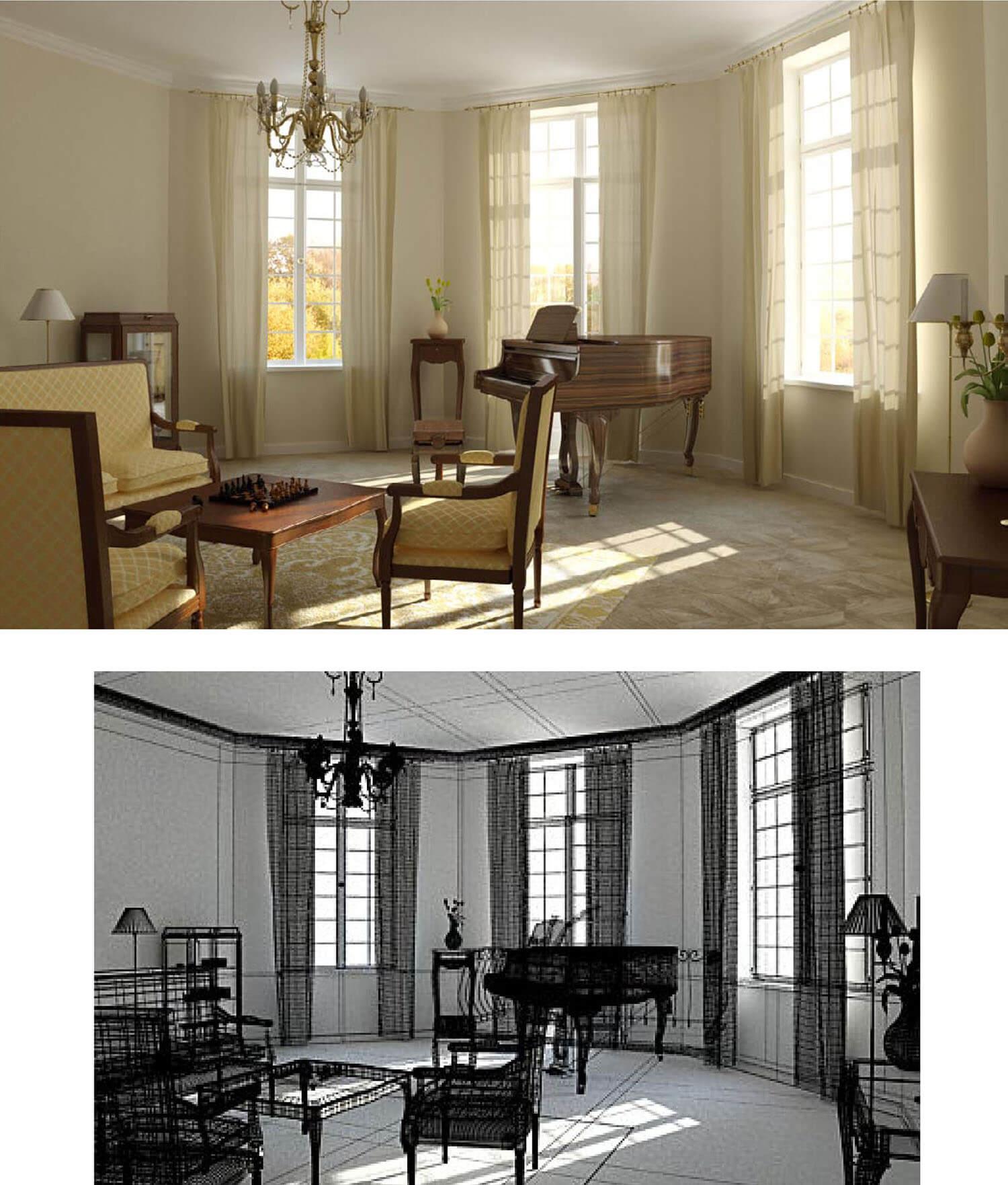 Thiết kế cổ điển được đưa vào phòng nghe nhạc cùng đàn piano