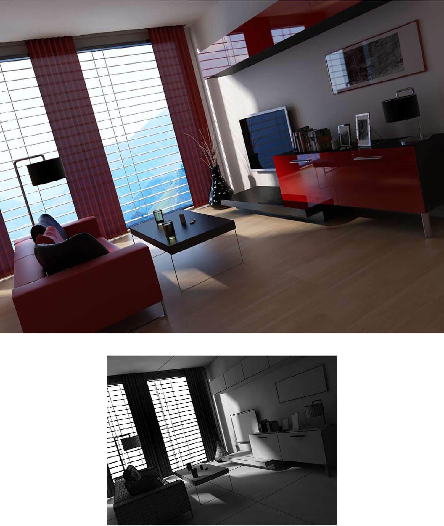 Thiết kế phòng khách với rèm cũng như ghế salon và kệ tủ đỏ nổi bật
