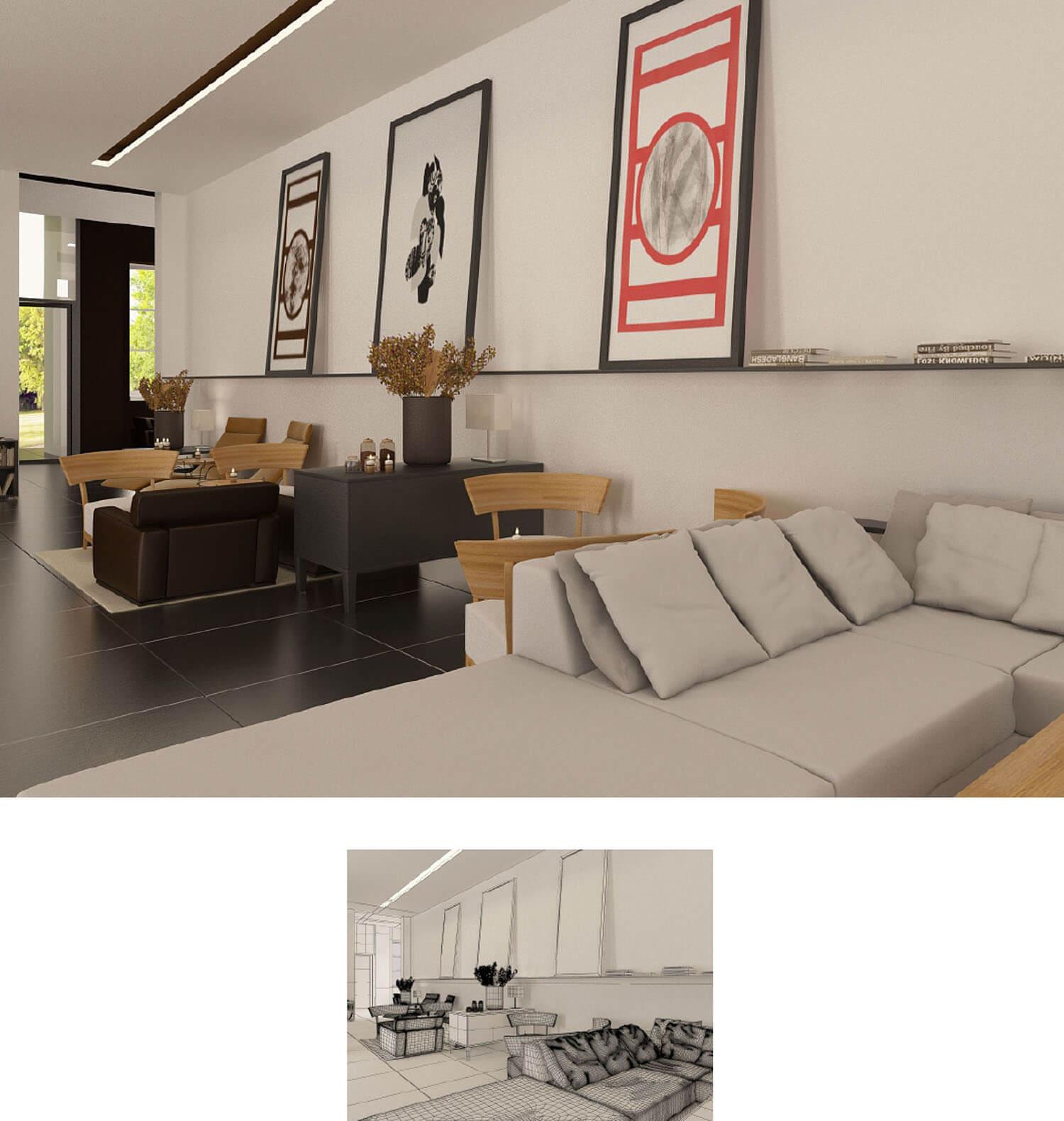 Không gian phòng khách được kết hợp hài hòa cùng nơi sinh hoạt chung