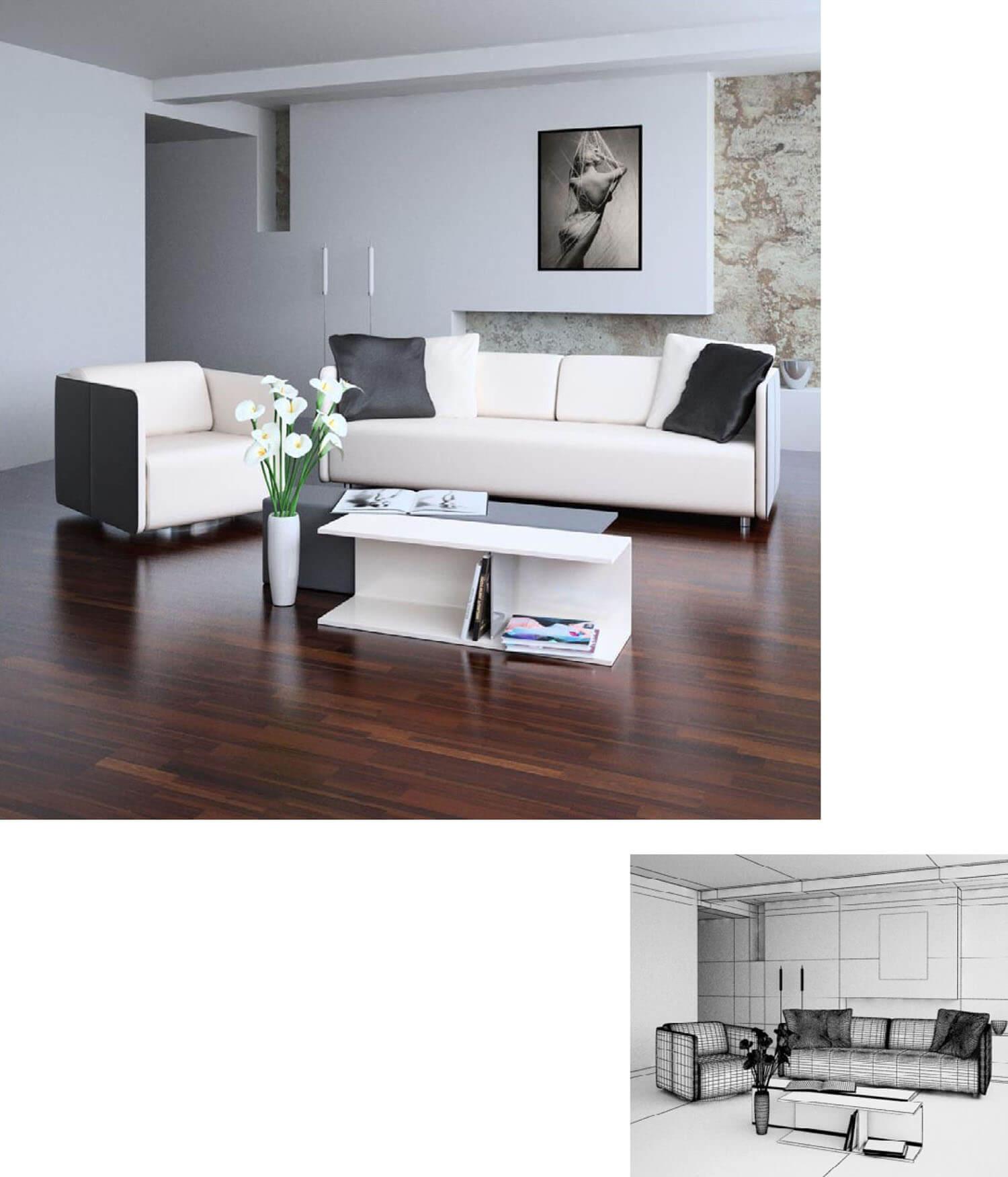 tường thạch cao được thiết kế công phu trong mẫu thiết kế phòng khách này