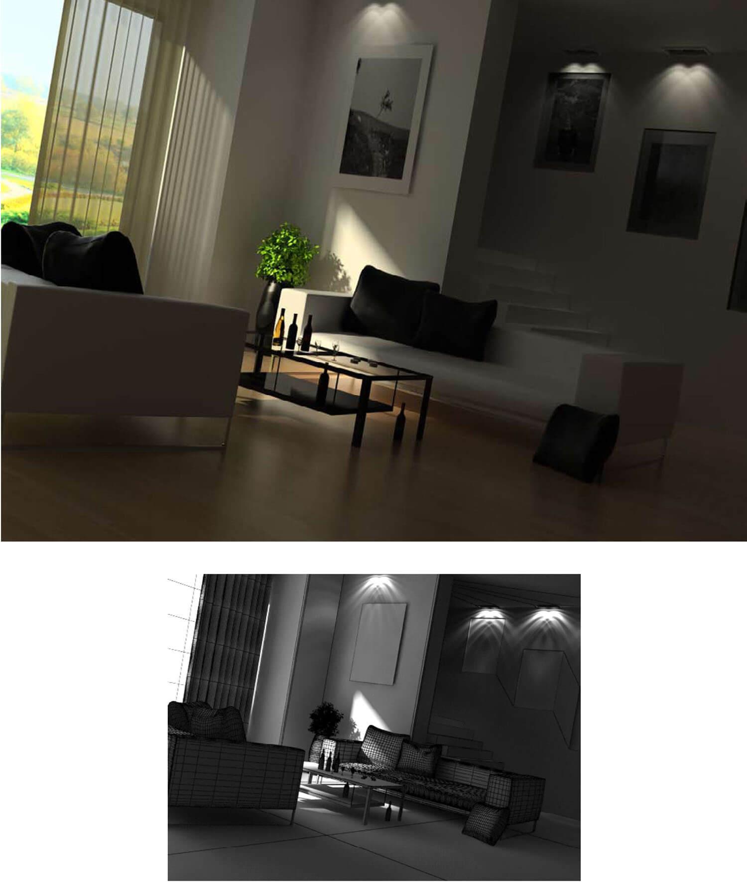 Cầu thang đá và đèn hắt trong thiết kế phòng khách