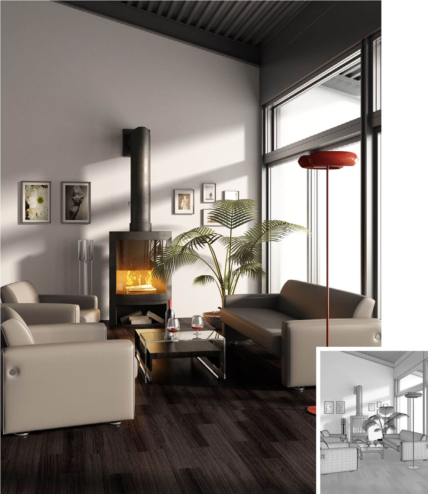 Thiết kế phòng khách trở nên ấn tượng và ấm cúng hơn với lò sưởi hiện đại
