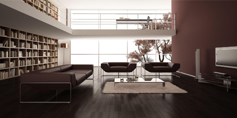Nội thất phòng khách trần cao, cùng sự đồng điệu về màu sắc