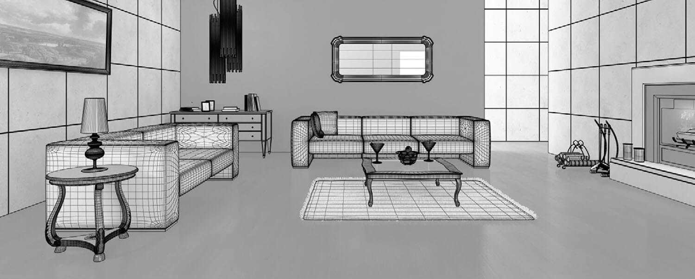 3d Chi tiết phòng khách kiểu cổ sử dụng lò sưởi cho không gian ấm áp