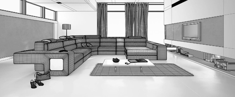 bản vẽ 3d Không gian ấn tượng của phòng khách với hai màu đen trắng