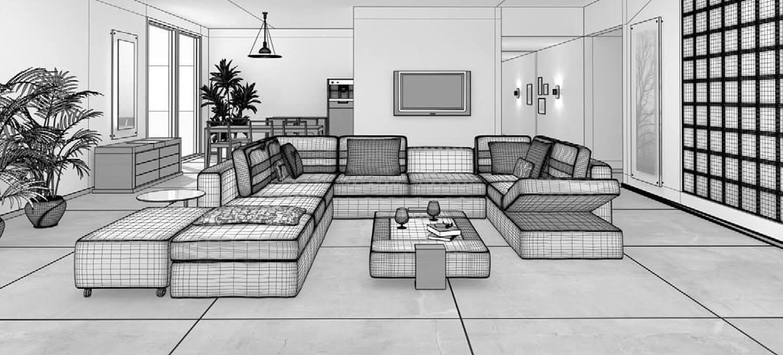 bản vẽ 3d Mẫu thiết kế phòng khách trên diện tích rộng với bộ salon trắng