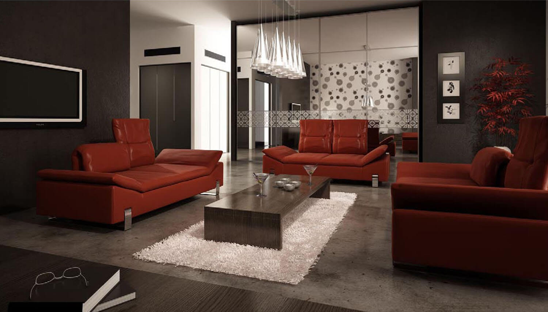 Sự ấm áp được lan tỏa trong mẫu thiết kế phòng khách nhờ bộ ghế da màu đỏ