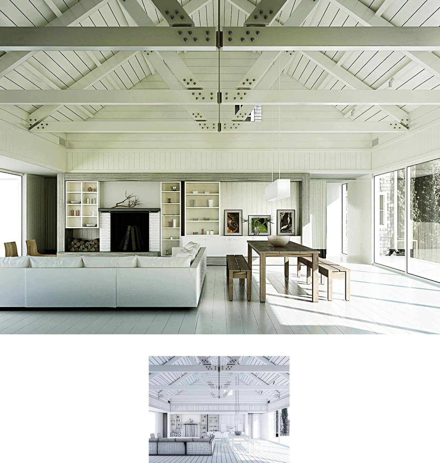 Thiết kế trần phòng khách đẹp dạng hình nón cùng các thanh xà gỗ