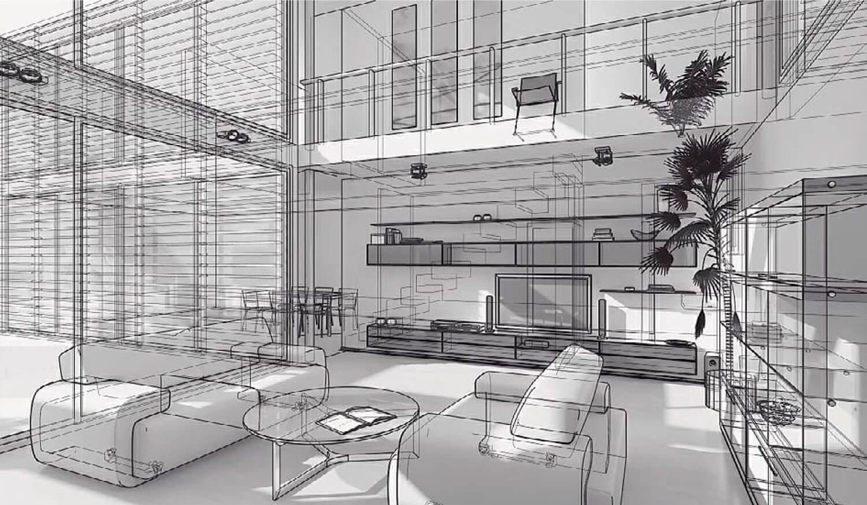 bản vẽ 3d Nội thất phòng cách kết hợp khéo léo giữa kính lớn và rèm