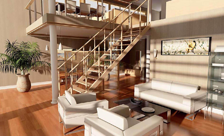 Khu tiếp khách được mở rộng nối tiếp với cầu thang gỗ