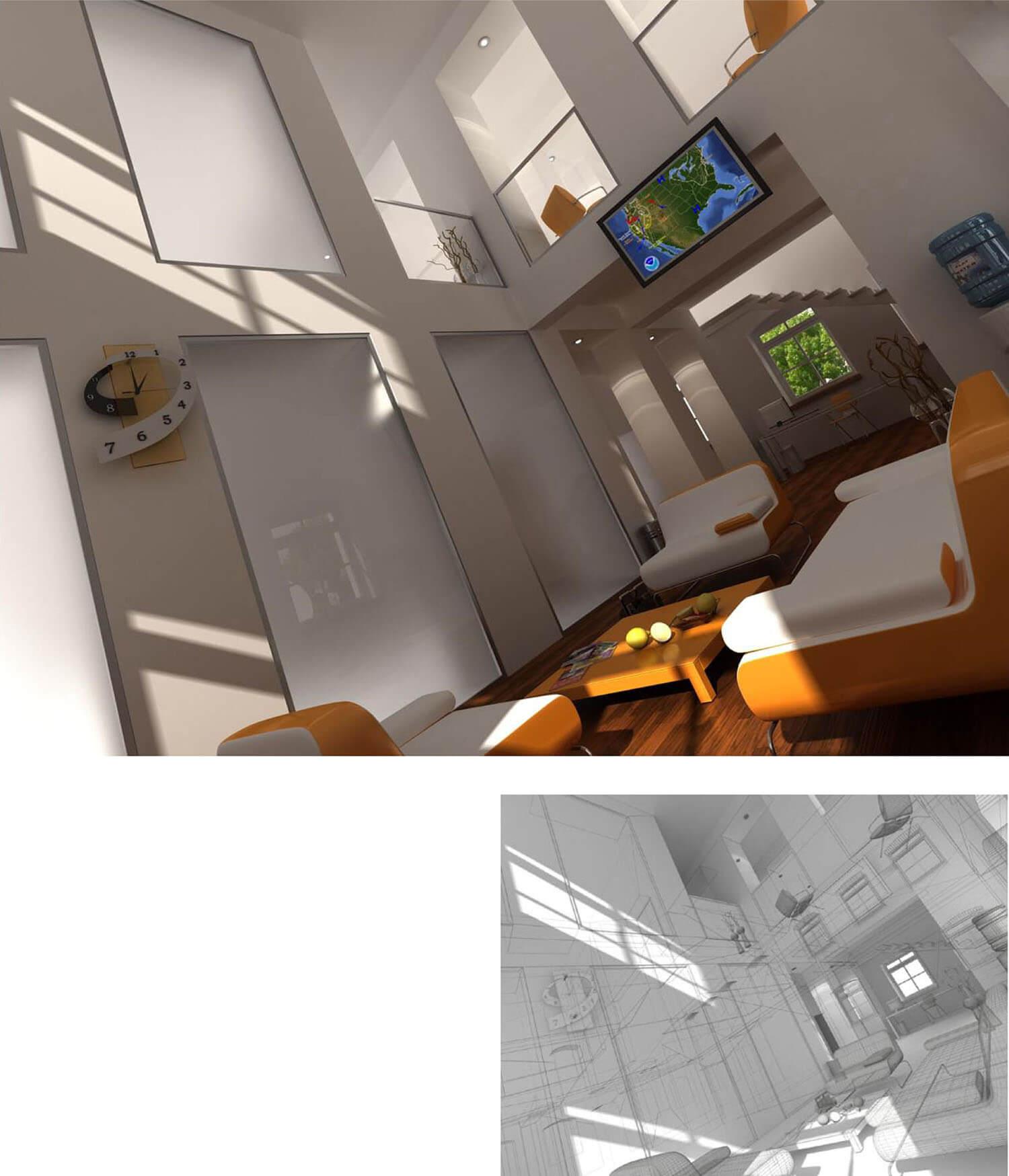 Bộ bàn ghế phòng khách màu cam nổi trên nền tường trắng