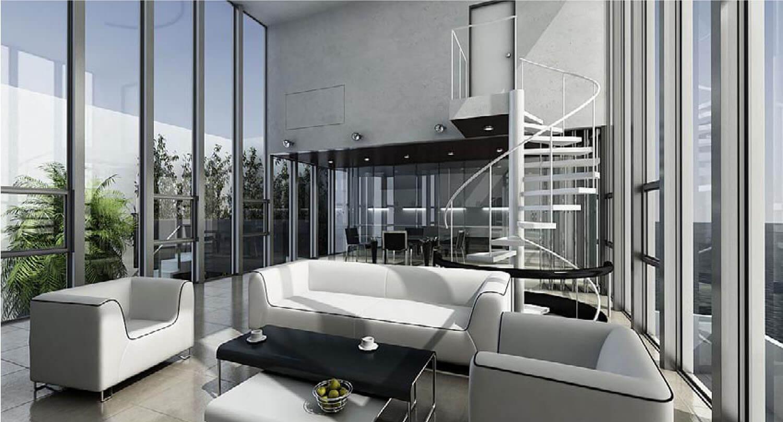 Thiết kế phòng khách có hai mặt thoáng được ngăn bởi các vách kính