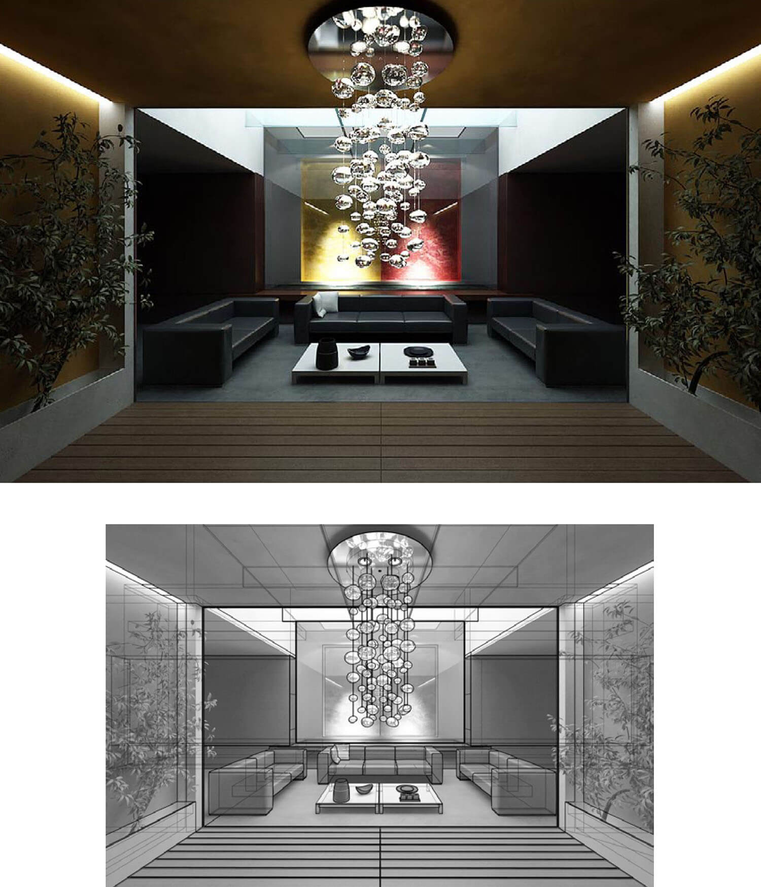 Nội thất trang trí bởi tường trần màu cam và đèn hắt