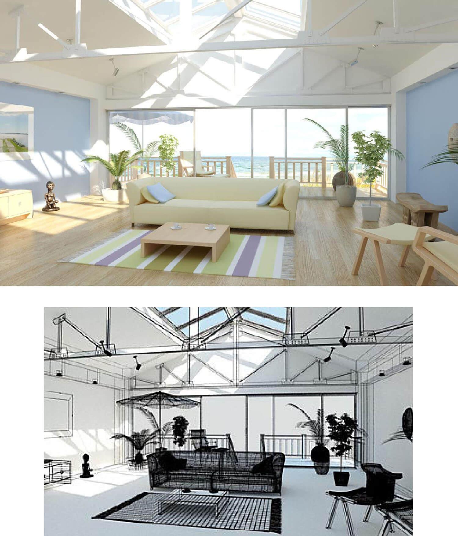 Phòng khách được thiết kế mở tối đa ra phía trước và trên cao