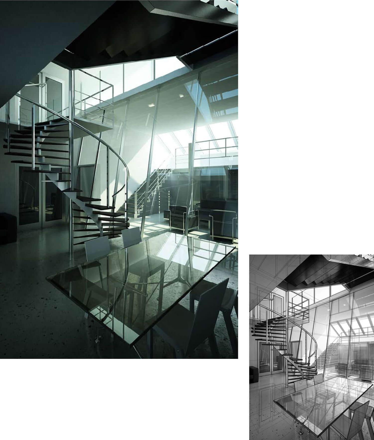 Thiết kế phòng khách đẹp với cửa kính và lan can sắt