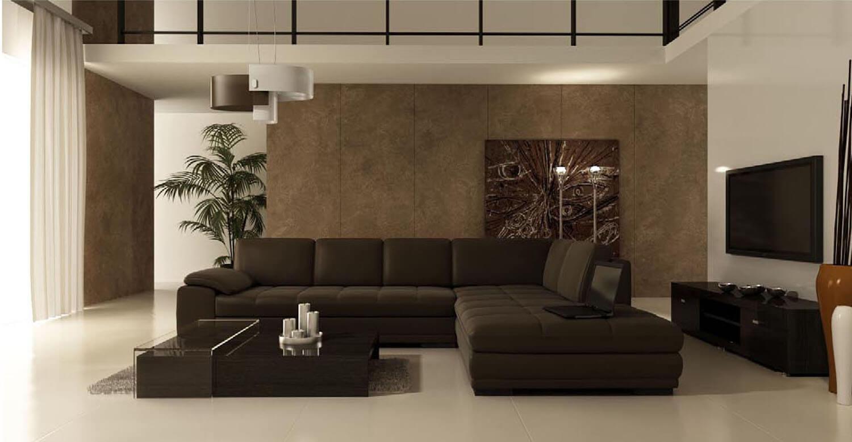 Nội thất trở nên sang trọng hơn với salon và nền tường phòng khách nâu