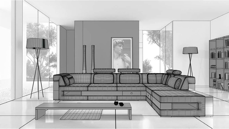 bản vẽ 3d Không gian nội thất phòng khách trở nên rộng hơn với các vách kính