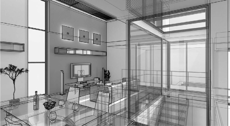 Hình vẽ 3D Phòng khách đẹp kết hợp với phòng ăn