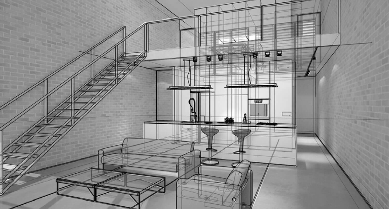 Bản vẽ 3D Không gian nội thất phòng bếp và phòng khách
