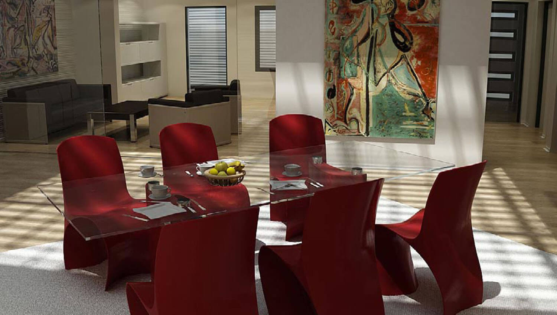 Khu tiếp khách được làm nổi bật hơn với những chiếc ghế của phòng ăn
