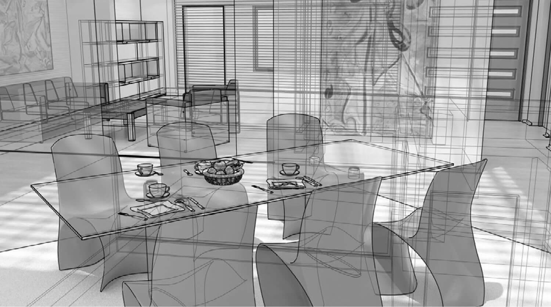 Bản vẽ 3D Khu tiếp khách được làm nổi bật hơn với những chiếc ghế của phòng ăn