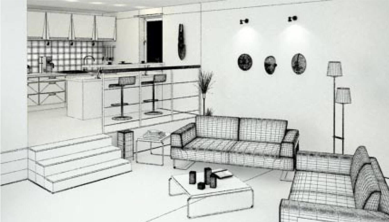 Hình vẽ 3D mẫu nội thất phòng khách đẹp