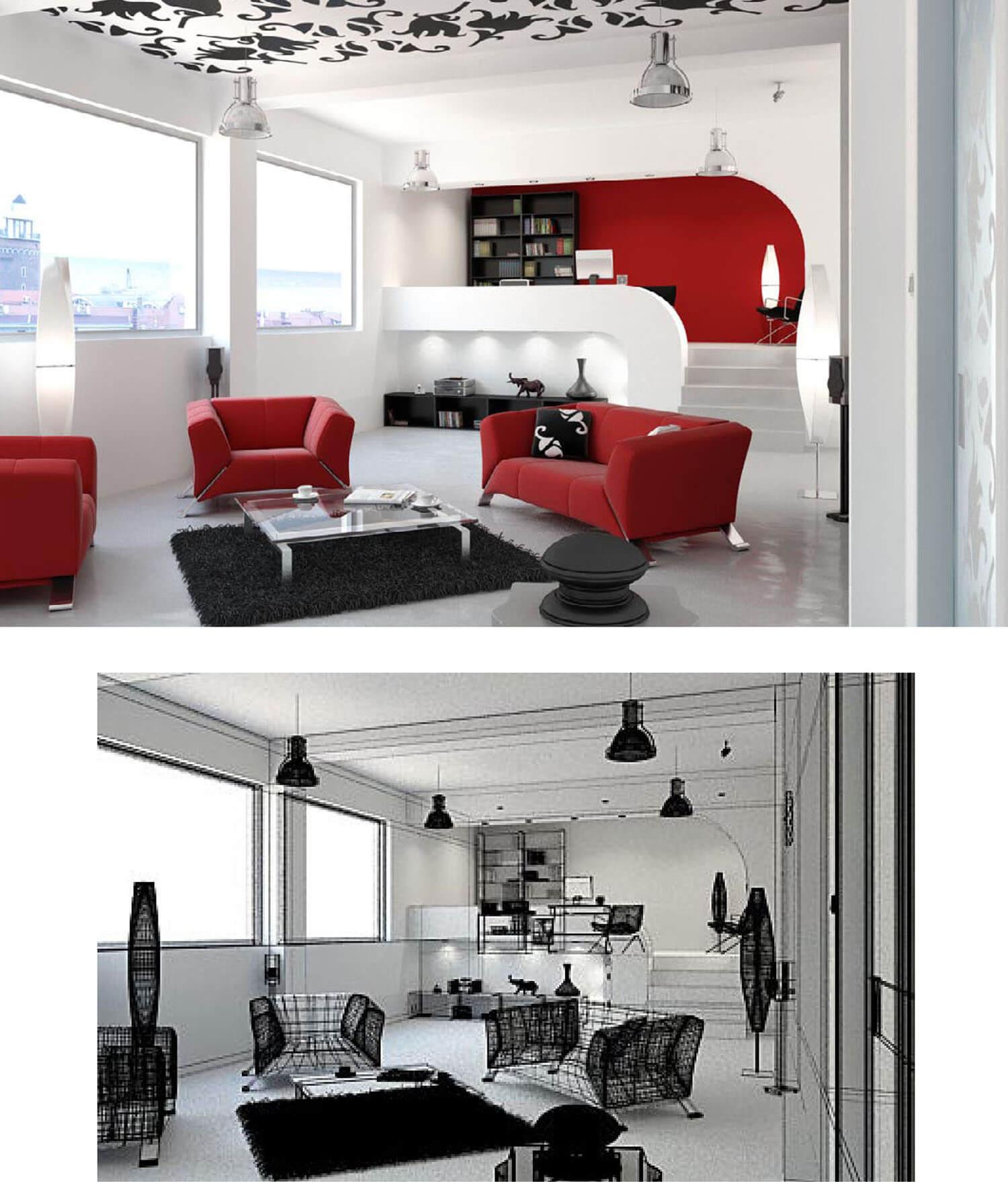 Trang trí phòng khách với salon đỏ nổi trên nền sơn trắng