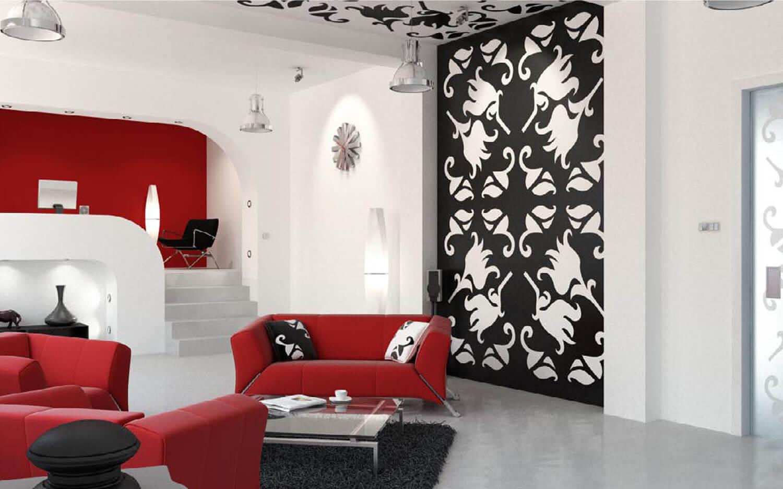 Họa tiết đẹp trên mảng tường sau lưng ghế salon
