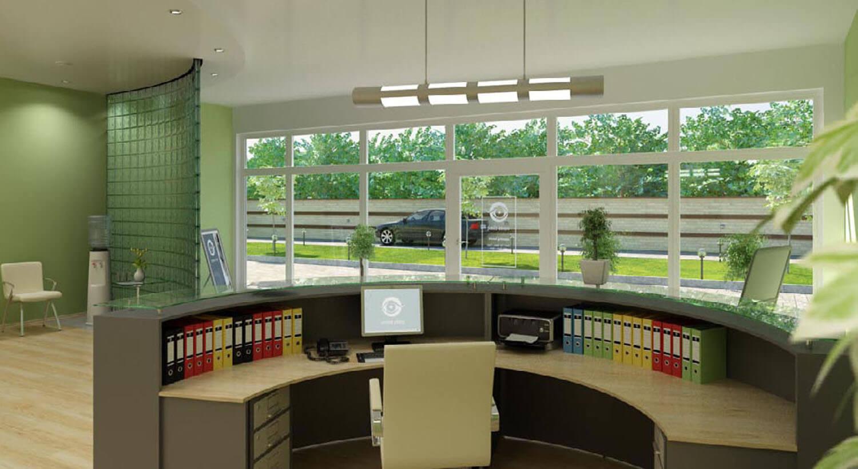 Khu vực tiếp khách văn phòng có diện tích rộng