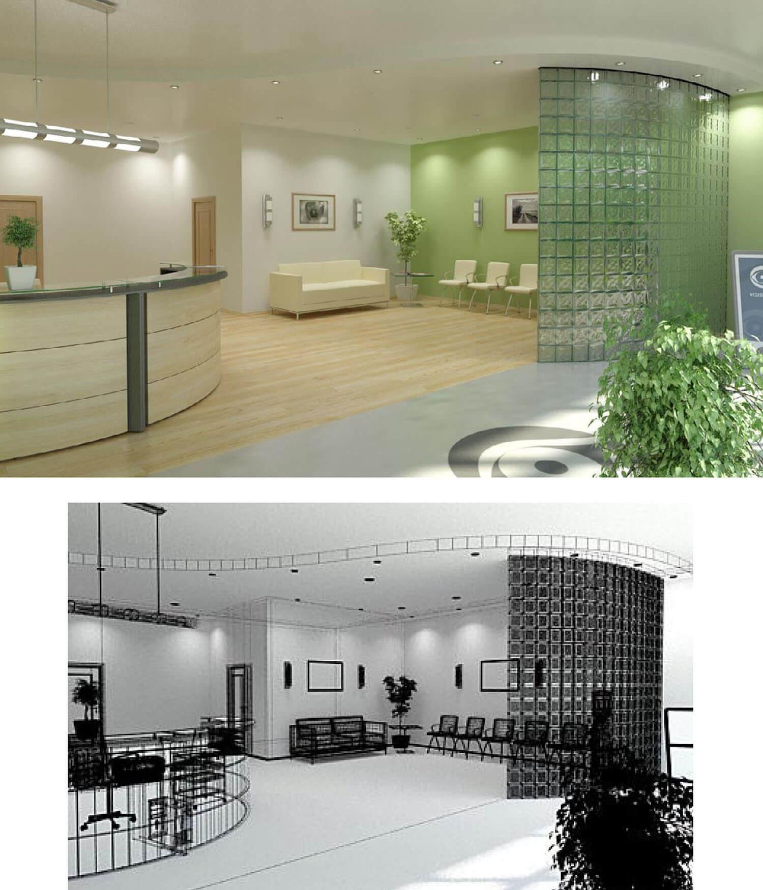 Không gian văn phòng được thiết kế thành 2 phần tiếp khách và phòng đợi