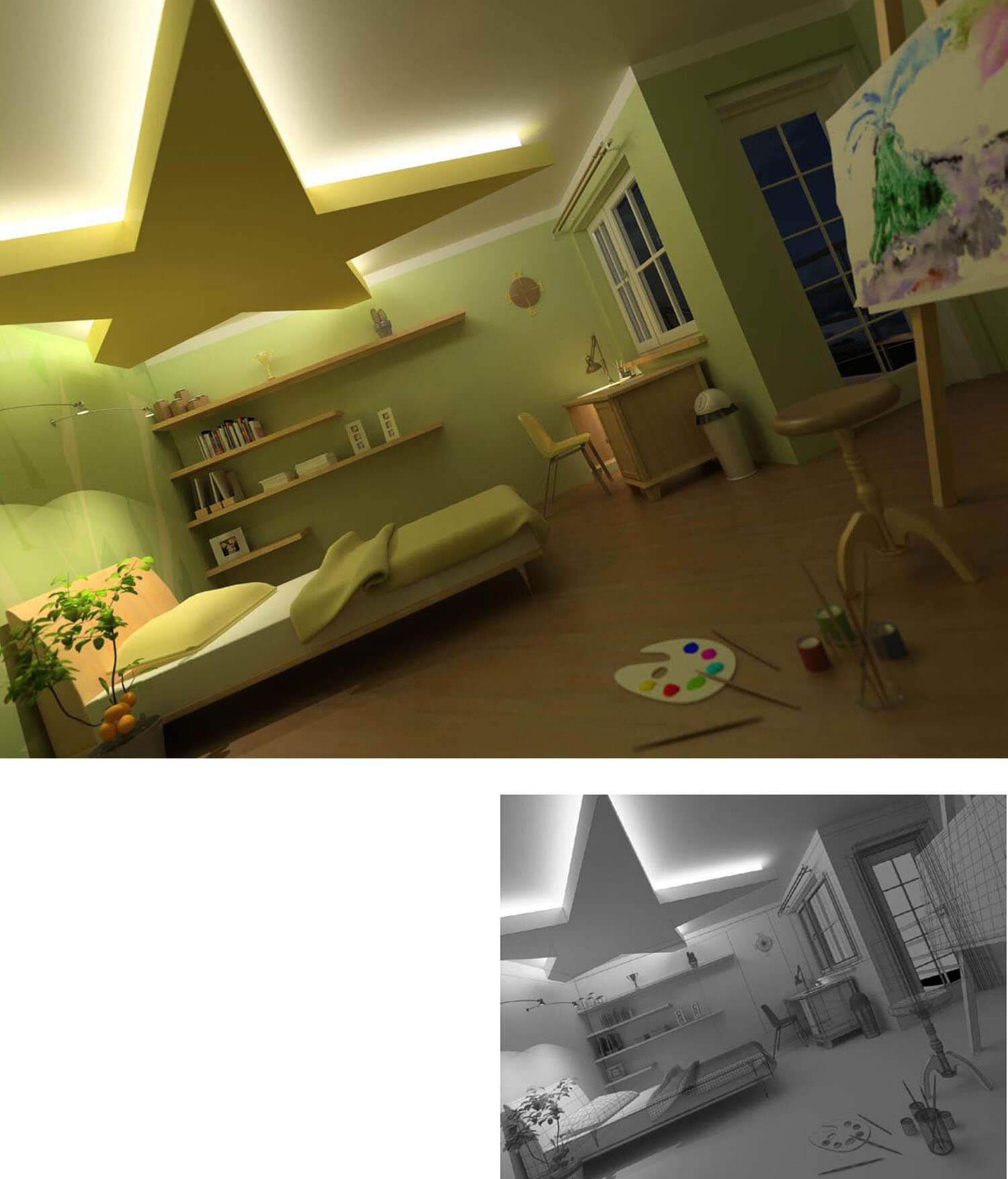 Mẫu phòng ngủ trẻ em với màu sắc và trần thạch cao được thiết kế trẻ trung