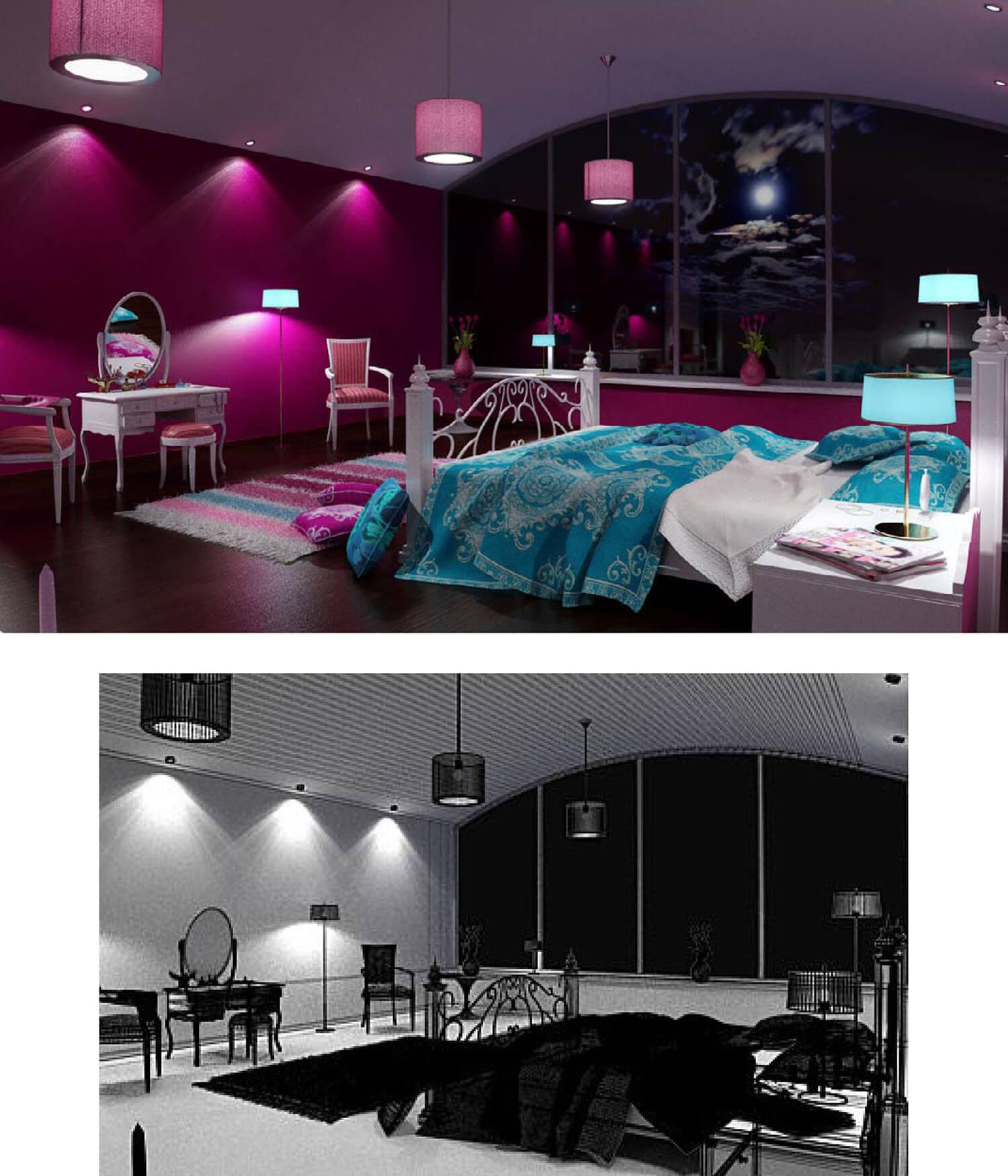 Thiết kế phòng ngủ vợ chồng đẹp sơn màu tím