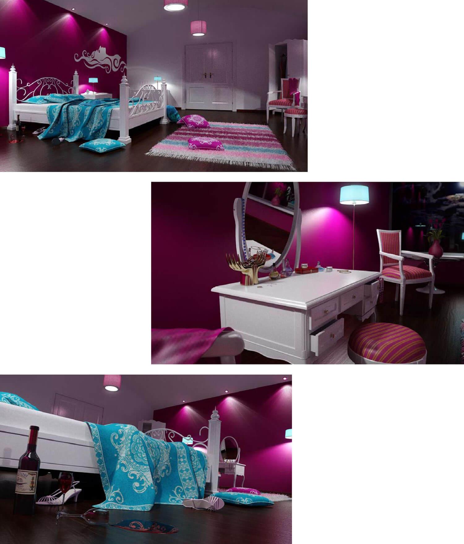 Giường, tủ và bàn phấn màu tím đồng bộ