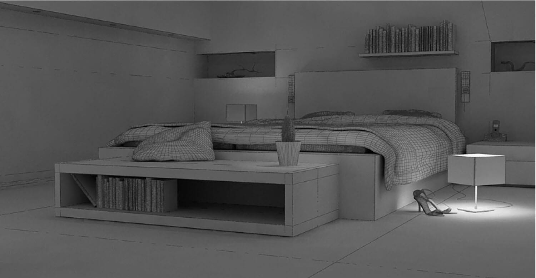 Bản vẽ phối cảnh 3D Phòng ngủ thiết kế với tông màu xám và đèn hắt hiện đại