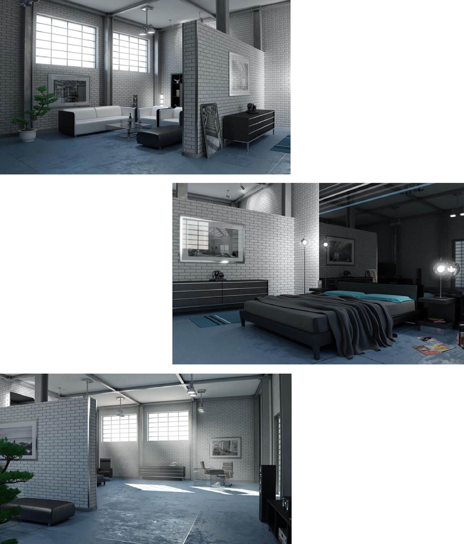 Nội thất phòng khách bên cạnh cùng đèn trần và cửa sổ đón ánh sáng