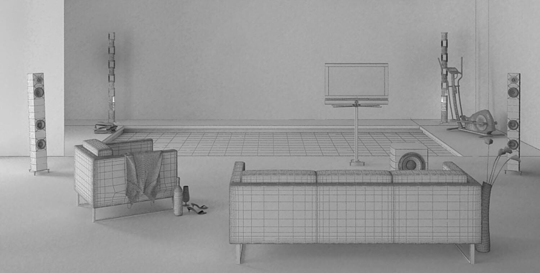 bản vẽ 3d Phòng tắm với thiết kế bể bơi nhỏ