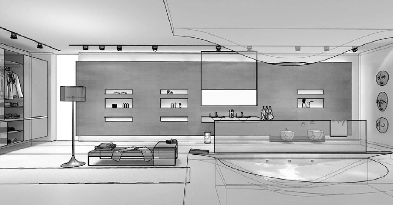 phối cảnh 3d Phòng tắm được làm độc đáo với bể bơi là phần lõm của sàn