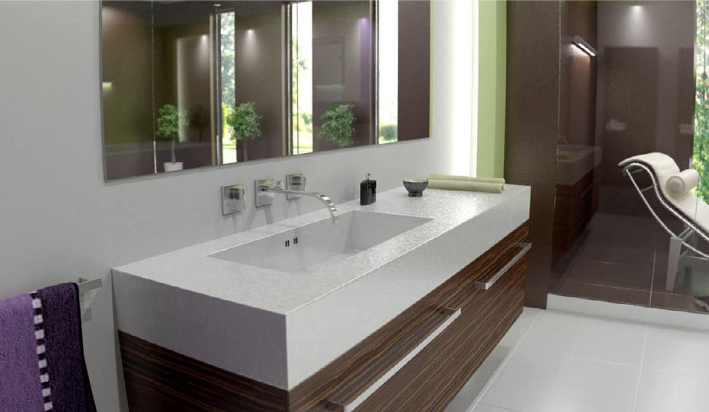Phòng tắm được thiết kế bằng đường nét vuông vức